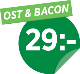 Ost & bacon 29 kr